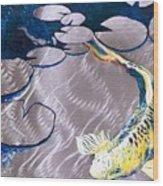 Aluminum Print, Koi Fish Print On Metal. Fish Art - Yellow - Blue - Green 3d Painting Of Koi Fish, A Wood Print