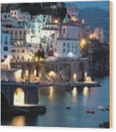 Amalfi Coast At Night Wood Print