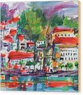 Amalfi Coast Italy Expressive Watercolor Wood Print