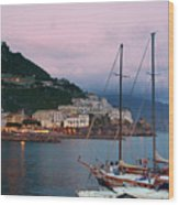 Amalfi Harbor Sunset Wood Print