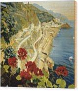 Amalfi Italy Italia Vintage Poster Restored Wood Print