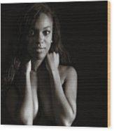 Amani African American Nude Sensual Sexy Fine Art Print In Sepia 4937.01 Wood Print