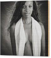 Amani African American Nude Sensual Sexy Fine Art Print In Sepia 4980.01 Wood Print