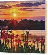 Amaryllis At Sunrise Over Lake Wood Print