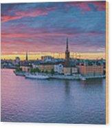 Dramatic Sunset Over Stockholm Wood Print