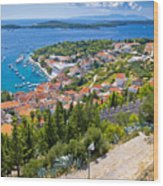 Amazing Historic Town Of Hvar Aerial View Wood Print