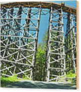 Amazing Kinsol Wooden Trestle Panorama View, Vancouver Island, Bc, Canada. Wood Print