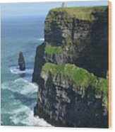 Amazing Look At The Sea Cliff's Of Moher In Ireland Wood Print
