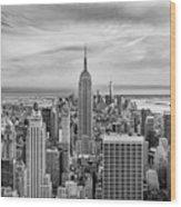 Amazing Manhattan Bw Wood Print