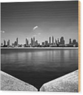 Amazing Panorama Reflection Of Dubai Jumeirah Beach, Dubai, United Arab Emirates Wood Print
