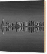 Amazing Sunset Panorama Reflection Of Dubai Marina, Dubai, United Arab Emirates Wood Print