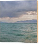 Amazing View Of Azure Sky Over Rippled Surface Of Cold Sea At Sunrise Wood Print