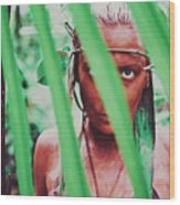 Amazonian Goddess Portrait Of A Wild Looking, Camouflaged Warrior Girl Holding Bow And Arrow Wood Print