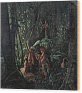 Amazonian Indians Worshiping The Sun God Wood Print