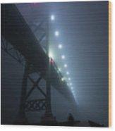Ambassador Bridge In Fog Wood Print