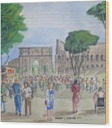 Amber At The Roman Coliseum Wood Print