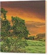 Amber Skies Wood Print