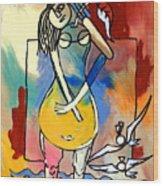 Ameeba- Pear Woman Wood Print