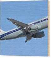 American Airbus A319-112 N745vj Allegheny Vistajet Phoenix Sky Harbor January 19 2016 Wood Print