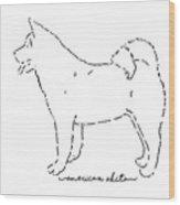 American Akita Sketch Wood Print