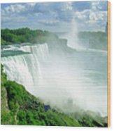 American And Niagra Falls At Niagra Wood Print