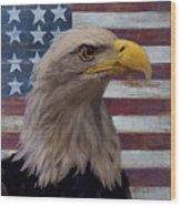 American Bald Eagle And American Flag Wood Print