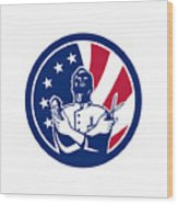 American Barber Usa Flag Icon Wood Print