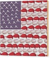 American Baseball Wood Print