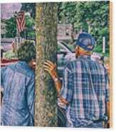 American Blue Wood Print