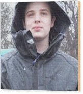 American Boy In Rain Wood Print
