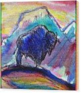 American Buffalo Sunset Wood Print by M C Sturman