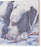 American Bulldog Christmas Wood Print