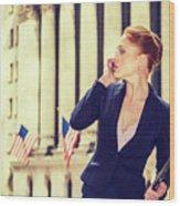 American Businesswoman Working In New York Wood Print