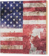 American Canadian Tattered Flag Wood Print