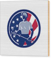 American Coal Miner Usa Flag Icon Wood Print