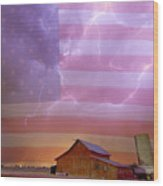 American Country Stormy Night Wood Print