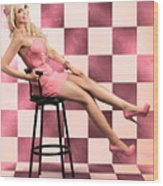 American Culture Pin Up Girl Inside 60s Retro Diner Wood Print