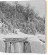 American Falls In Winter In Black And White Wood Print