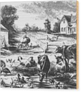 American Farmyard, C1870 Wood Print by Granger