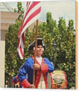 American Fife And Drum Corp Flag Carrier Wood Print