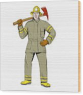 American Firefighter Fire Axe Drawing Wood Print