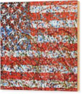 American Flag Abstract 2 With Trees  Wood Print