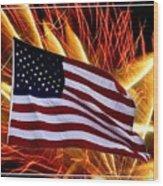 American Flag And Fireworks Wood Print