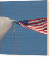 American Flag At The End Of Tall Post With Blue Skies Wood Print