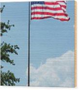 American Flag Flying Proud Wood Print