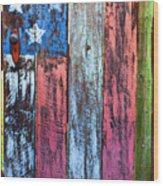 American Flag Gate Wood Print