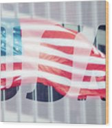 American Flag In Front Of Business Building  Wood Print