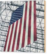 American Flag In Kennedy Library Atrium - 1982 Wood Print