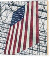 American Flag In Kennedy Library Atrium - 1982 Wood Print