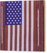 American Flag In Red Window Wood Print